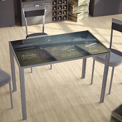Mesa con cristal templado serigrafiada para cocina o comedor 105x60 cm