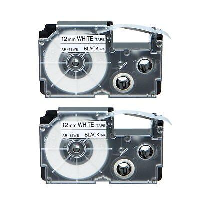 2pk Xr-12we Black On White Label Tape For Casio Kl-780 750b 7200 1500 750ba 12