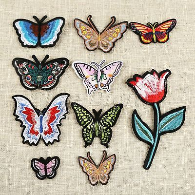 Butterfly Flower Sewing Iron On Patches Embroidered Bag Hat Badge Applique 10pcs