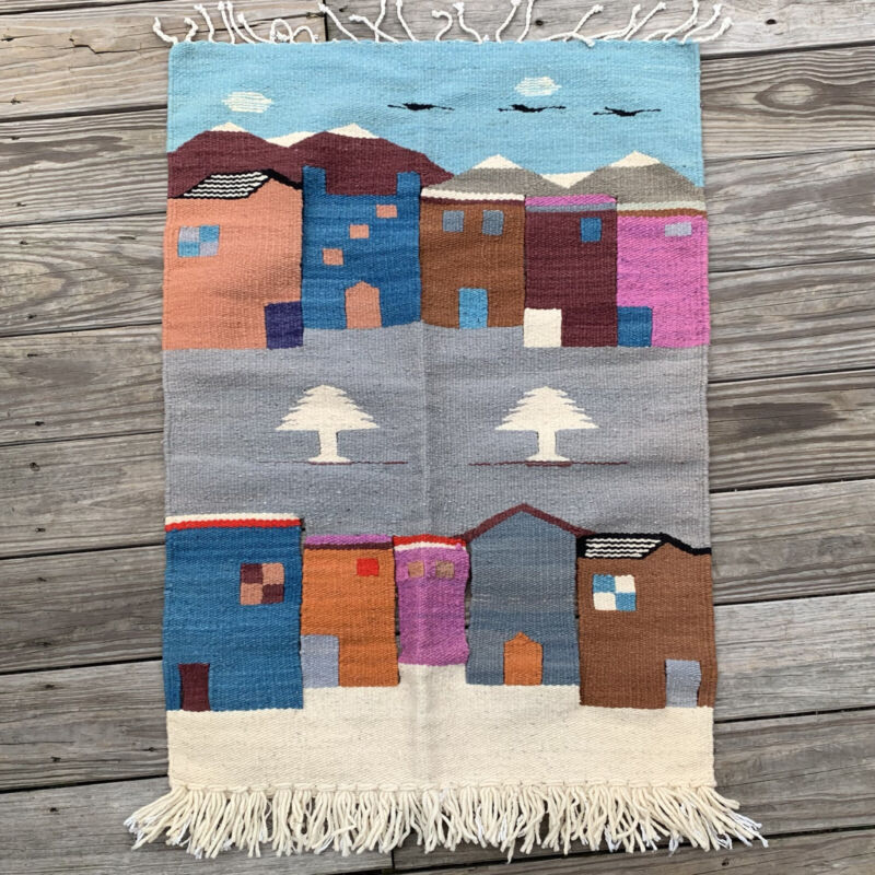 Tribal Western Rug Textile Handwoven Pictorial Wall Hanging Folk Art Pine Trees