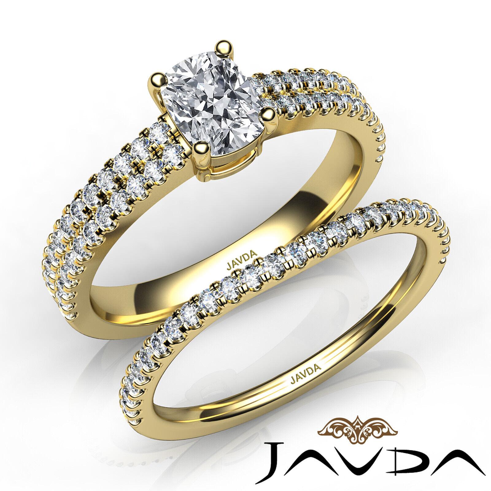 1.8ctw Bridal Scalloped Pave Cushion Diamond Engagement Ring GIA F-VVS2 W Gold 8