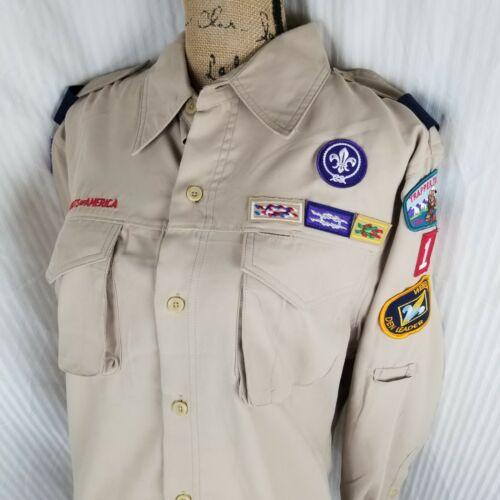 BSA Boy Scouts Den Leader Uniform Shirt Men Medium M LS Patches Polyester Vented