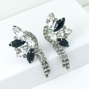 Sparkly Vintage Clear and Black Rhinestone Earrings, clip ons