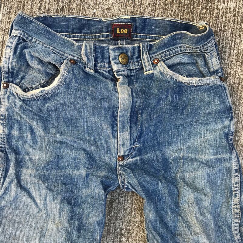 Vintage LEE RIDERS Denim Jeans 1940 Union Made 24 X 23.5 Center Patch Sanforized