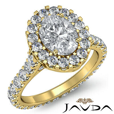 2.5 ct Oval Diamond Engagement 14k White Gold F VS2 Clarity GIA Halo Pave Ring 8