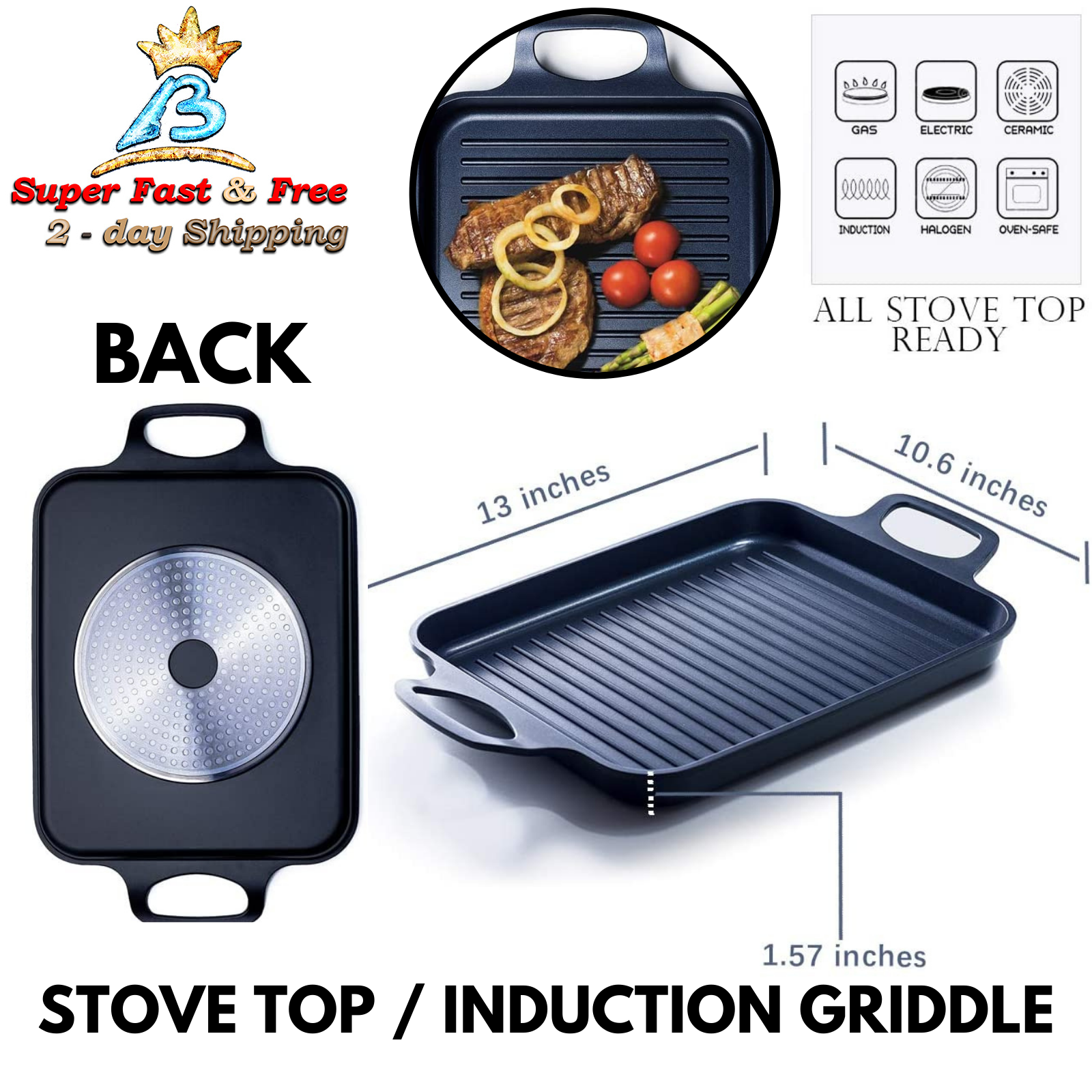 Portable Nonstick Pan Grill Griddle For Induction Cook Top I