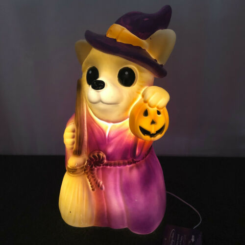 """New 17""""  Halloween Lighted Blow Mold Witch Puppy Dog Holding Pumpkin"""