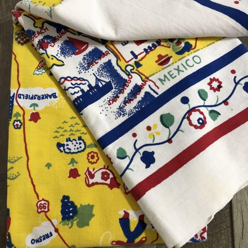 Vintage California Hand Prints State Souvenir Tablecloth Margaret Newport 47X50
