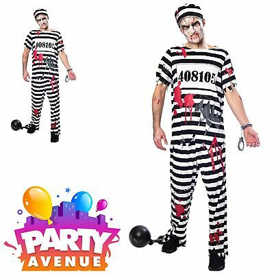Mens Zombie Convict Costume Adults Prisoner Halloween Fancy Dress Horror Outfit