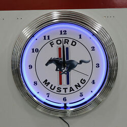 Ford Mustang Pony Logo Blue Neon Hanging Wall Clock: 15 Diameter: 8MUST1
