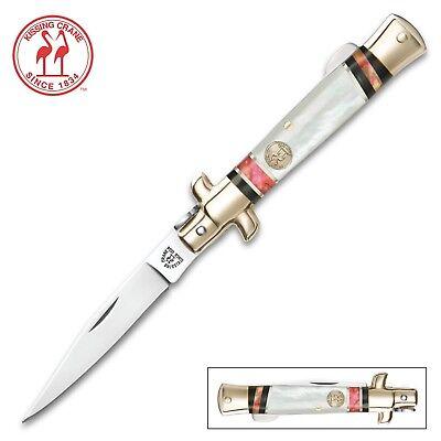 Genuine Pearl Handle (Kissing Crane Stiletto Genuine Pink Abalone & Pearl Handle Pocket Knife 5429 )