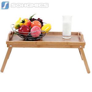Songmics plateau petit d jeuner table de lit en bambou - Table petit dejeuner lit ...