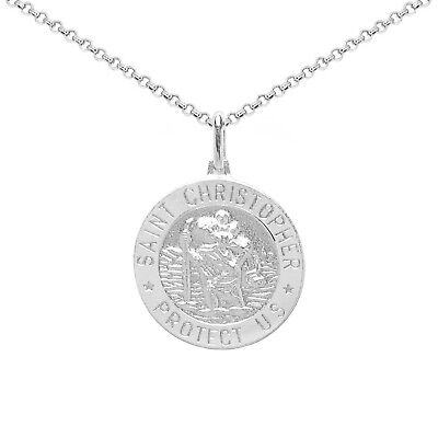 Sterling Silver Round Italian Saint Christopher Medallion Pendant Or Necklace