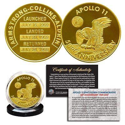 50th Anniversary Gold (Apollo 11 50th Anniversary Commemorative 1 OZ  24K Gold Plated Robbins Medallion)