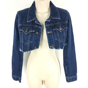 Earl Jean Jacket Women's Distressed Frayed Distressed Crop Size P