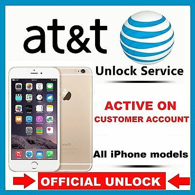 APPLE IPHONE 7+ 7 6S+ 6S 6+ 6 5S 5C 5 4S 4 AT&T ACTIVE IMEI UNLOCK