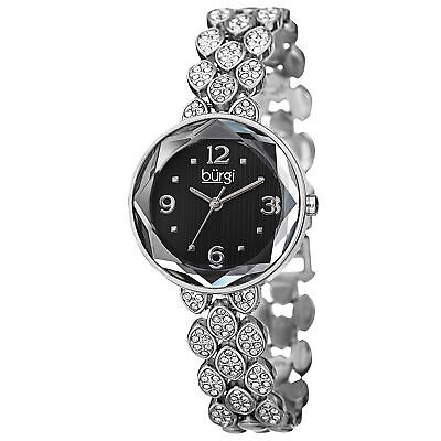 New Women's Burgi BUR124SSB Quartz Swarovski Crystals Black Dial Bracelet Watch