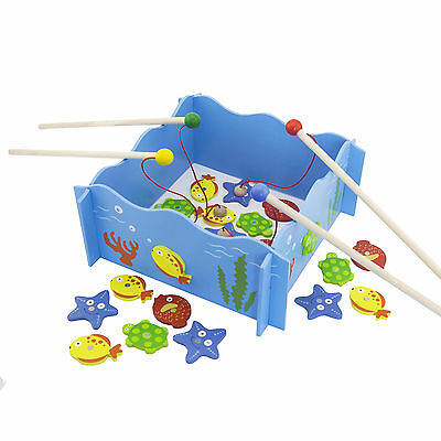 """Wooden Fishing """"Sea World"""" Game with Magnetic Rods and Fish #51027"""