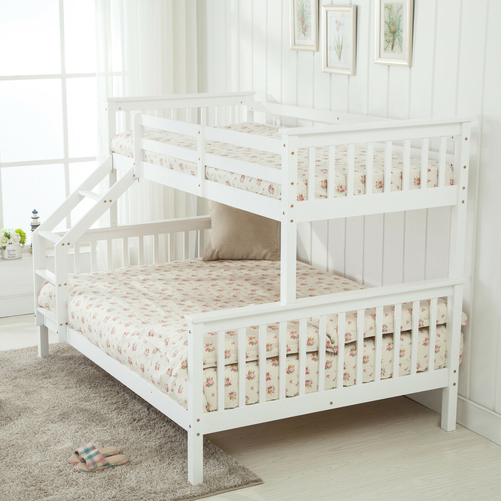 White Triple Sleeper Pine Wood Bunk Bed Frame 3ft Single 4ft6 Double