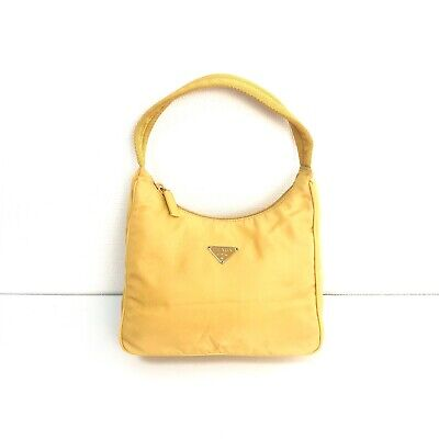 Auth PRADA Logos Handbag Bag Hobo Yellow Nylon Purse Vintage From Japan