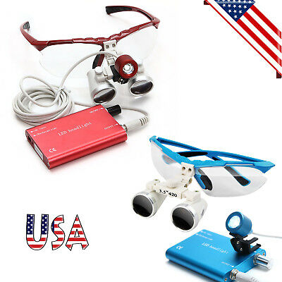Redblue Dental Loupes 3.5x420mm Surgical Medical Binocular Led Head Light Lamp
