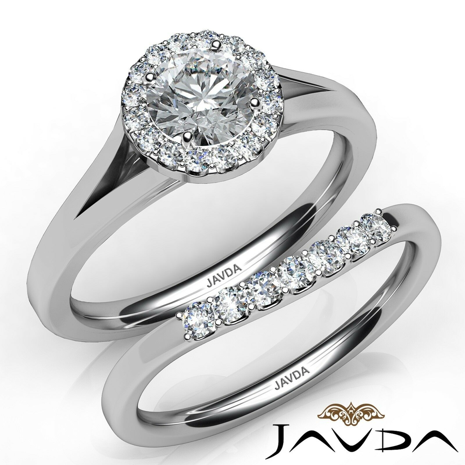1.02ctw Classic Bridal Halo Pave Round Diamond Engagement Ring GIA F-VS1 W Gold