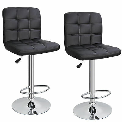 Set of 2 Square PU Leather Adjustable Bar Stools with Back Swivel Stool Modern