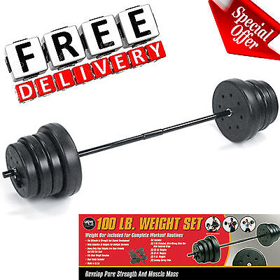 Home Weight Set 100lbs Adjustable Workout Gym Fitness Equipment Vinyl Exercise