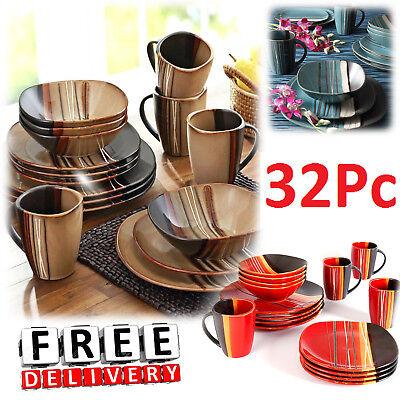 Square Dinnerware Set For 8 Stoneware Kitchen 32Pc Plates Bowls Dishes Mug -
