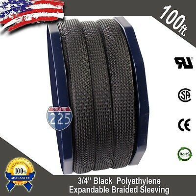 100 Ft 34 Black Expandable Wire Cable Sleeving Sheathing Braided Loom Tubing