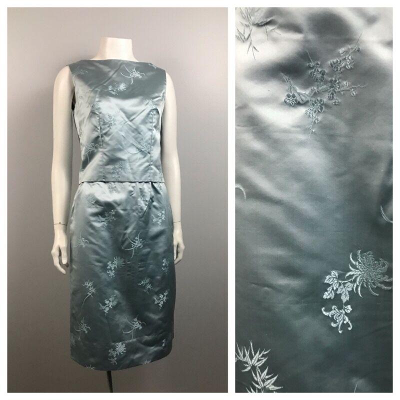 1950s Dress Set / Blue Floral Brocade Sleeveless Top and Pencil Skirt / XS