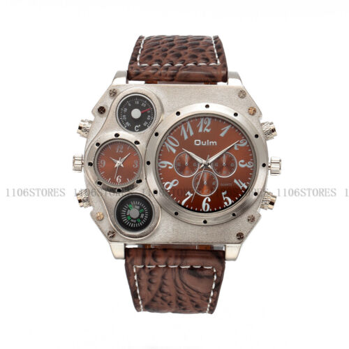 Luxury Men's Sport Oulm Military Quartz Dial  Stainless Steel Wrist Watch