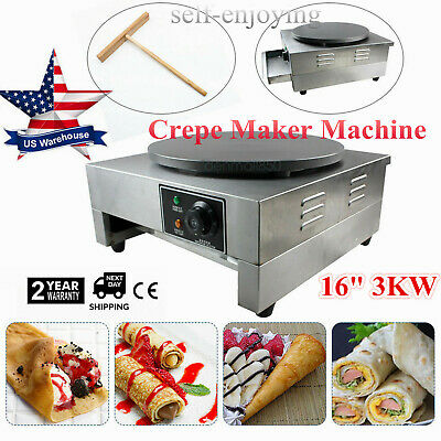 16 Commercial Electric Crepe Maker Pancake Machine Big Hotplate Non Stick New