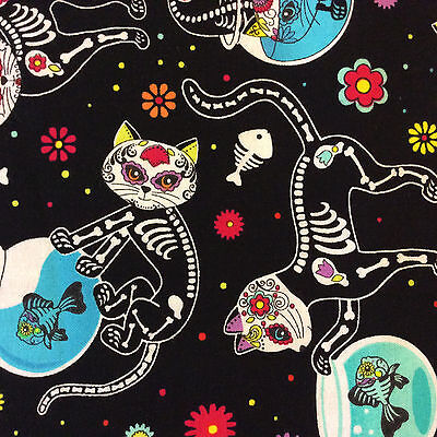 FT88 Dia de los Muertos Cat Kitty Kitten Day of the Dead Cotton Quilting Fabric - Dia De Los Muertos Cat