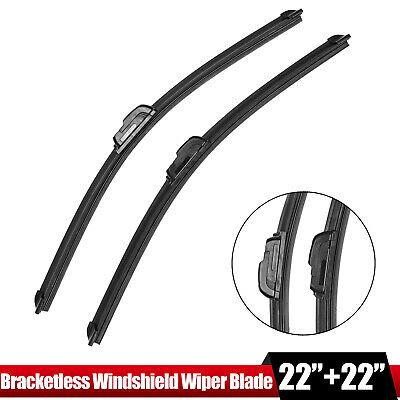 "22"" & 22"" Windshield Wiper Blades J-HOOK OEM QUALITY Bracketless"