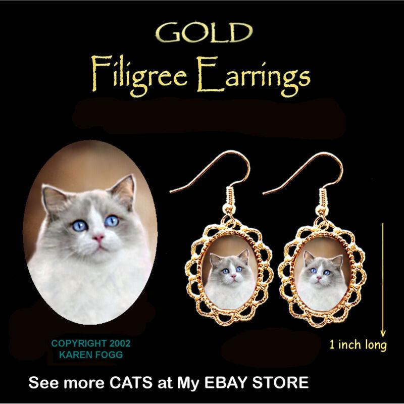 RAGDOLL Cat - GOLD FILIGREE EARRINGS Jewelry