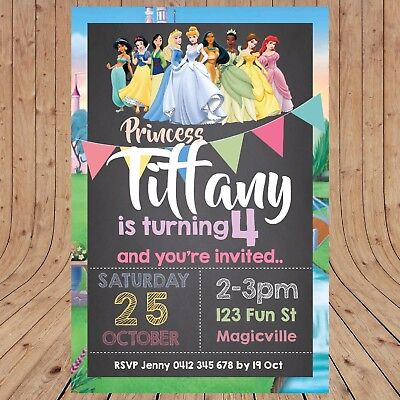Personalised DISNEY PRINCESS Kids Party Birthday  Invitations DIGITAL YOU - Disney Princess Party Invitations