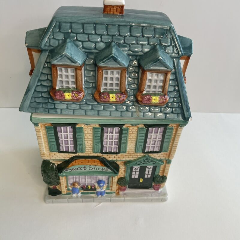 Vintage 1999 Sherwood Brands Sweet Shop Building  Cookie Jar 12 Inches Tall