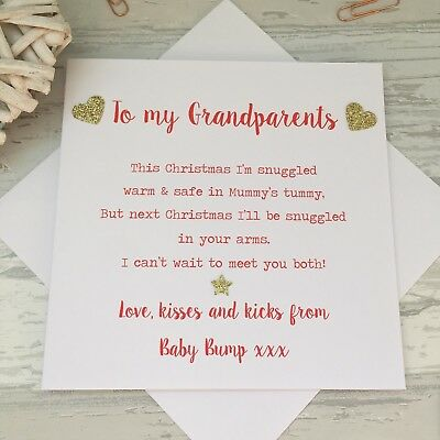 Handmade Love from the Baby Bump 1st Christmas Card Poem Grandparents to Be  ()