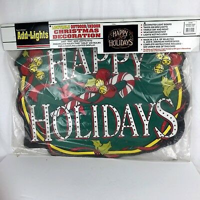 Vintage Christmas Light Display Board Happy Holidays Sign Indoor Outdoor Decor