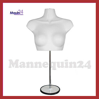 Female Mannequin Torso With Stand Hanger - White Womens Chest Dress Form