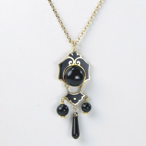 """14 kt Gold Victorian Mourning Pendant Stone & Enamel Necklace 21 1/4"""" A3319"""