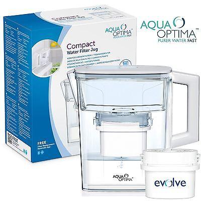 Aqua Optima Compact 2.1L Fridge Water Jug Fits BRITA with 1 30-Day Filter Refill