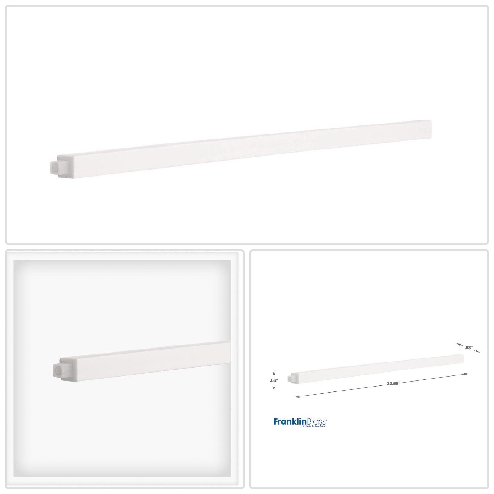 24 in. Replacement Towel Bar Rod in White Rack Clear Frankli