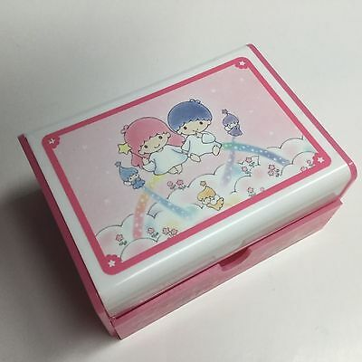 Vintage 1976/1991 SANRIO Little Twin Stars PINK PLASTIC Jewelry Box Mirror~RARE!