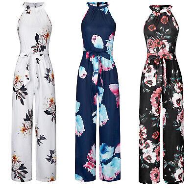 Women Ladies Halter Neck Sleeveless Floral Long Jumpsuit Loose Belted Jumpsuit
