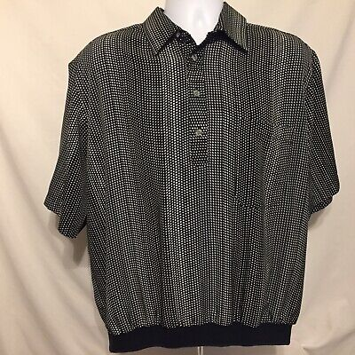 Vintage D'Accord Mens Banded Bottom Shirt XL Short Sleeve Polyester Made In USA