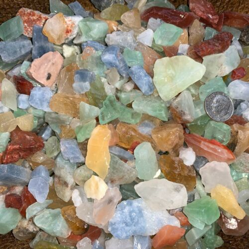 2000 Carat Lots of (SMALL) Natural Mixed Calcite Rough + FREE Faceted Gemstone