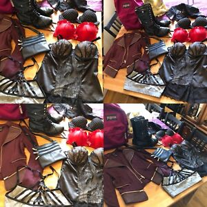 women's small medium clothing lot boots bags bras