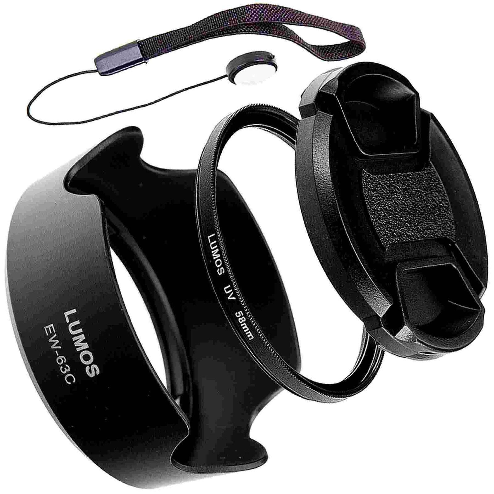 Gegenlichtblende UV Filter Objektivdeckel zu Canon 18-55 IS STM EOS 200D Zubehör